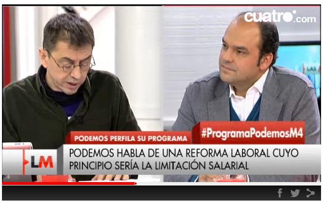 Mi debate con Monedero en Las Mañanas de Cuatro (min. 37 aprox)